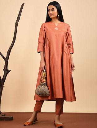Orange Embroidered Silk Cotton Kurta with Gathers