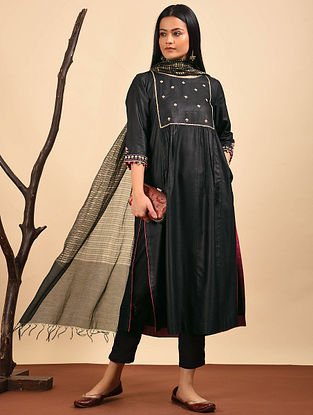 Black Embroidered Silk Cotton Kurta with Pocket