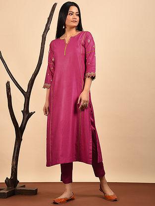 Pink Embroidered Silk Cotton Kurta with Pocket