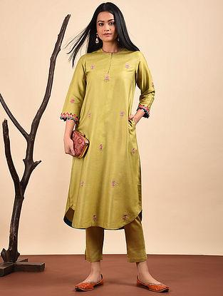 Green Embroidered Silk Cotton Kurta with Pocket
