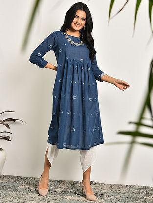 EVA - Blue Handloom Cotton Jamdani Kurta with Gathers