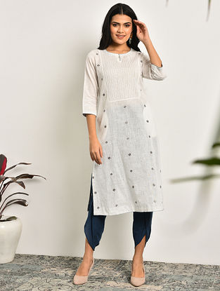 KIRA - White Embroidered Cotton Kurta With Pintucks