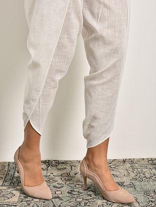 White Elasticated Waist Cotton Tulip Pants