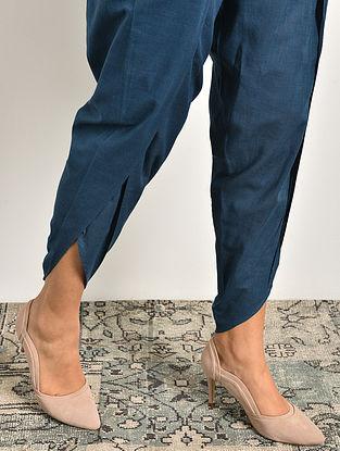 Blue Elasticated Waist Cotton Tulip Pants