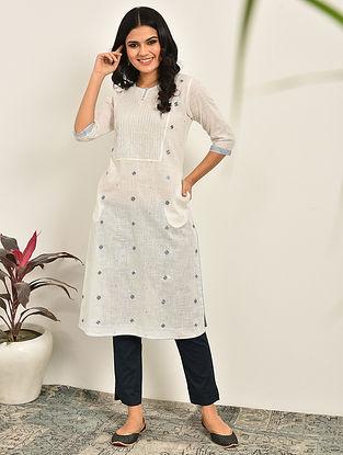 ALMA - White Embroidered Cotton Kurta with pintucks