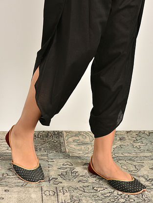 Black Elasticated Waist Cotton Tulip Pants