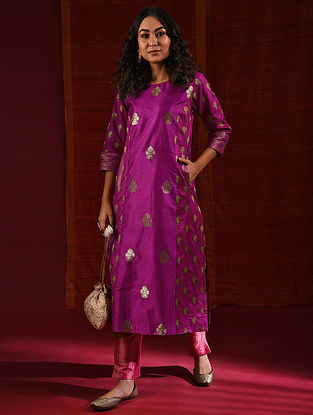 ARUNA - Pink Handloom Benarasi Silk Brocade Kurta