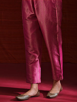 VELU NACHIYAR - Pink Elasticated Waist Handloom Benasari Silk Brocade Pant