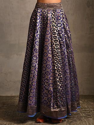 Blue Vintage Benarasi Silk Brocade Lehenga