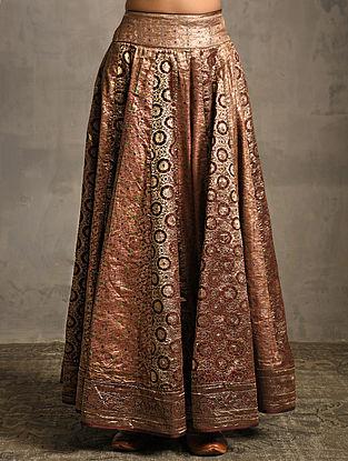 Rust Vintage Benarasi Silk Brocade Lehenga