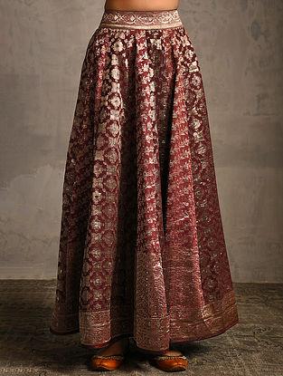 Plum Vintage Benarasi Silk Brocade Lehenga