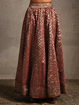 Maroon Vintage Benarasi Silk Brocade Lehenga