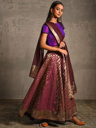 Pink Vintage Benarasi Silk Brocade Lehenga
