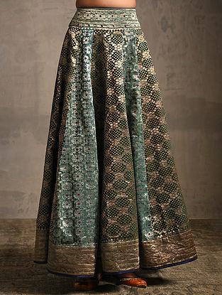 Green Vintage Benarasi Silk Brocade Lehenga