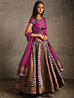 Multicolor Vintage Benarasi Silk Brocade Lehenga