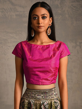 Pink Silk Blouse with Zipper Closure