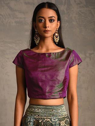 Purple-Green Silk Blouse with Zipper Closure