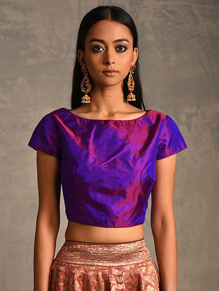Blue-Purple Silk Blouse with Zipper Closure