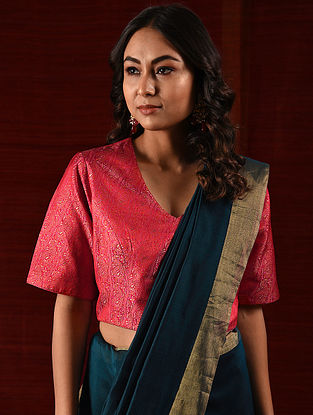 BIBI SAHIB - Red Handloom Benarasi Silk Brocade Blouse