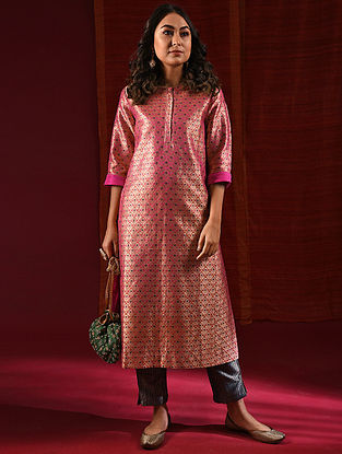DURGAVATI - Pink Handloom Benarasi Silk Brocade Kurta