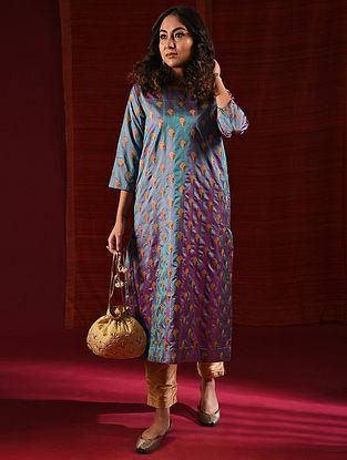 KELADI CHENAMMA - Blue Handloom Benarasi Silk Brocade Kurta