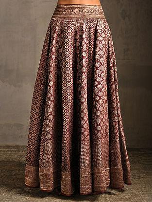 Maroon Vintage Benarasi Silk Brocade Lehenga-L