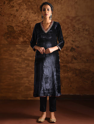Blue Silk Velvet Hand Embroidered Kurta with Marori Work