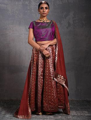 Red Vintage Benarasi Silk Brocade Lehenga