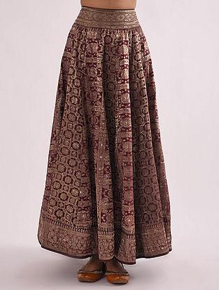 Maroon Vintage Banarasi Silk Brocade Lehenga