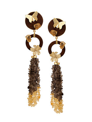 Brown-Yellow Gold Tone Rosewood Citrine and Brass Earrings