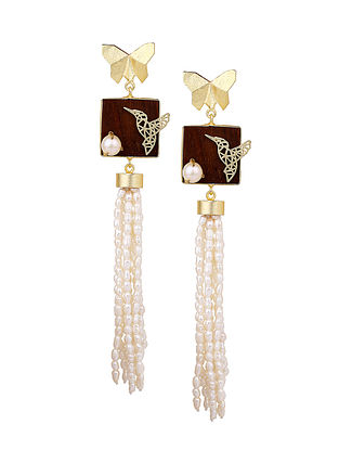 White-Brown Gold Tone Rosewood Pearl and Brass Earrings