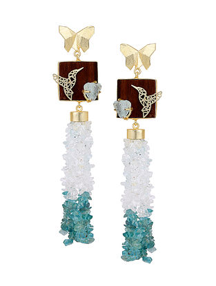 Blue-White Gold Tone Rosewood Aqua Apetite and Brass Earrings