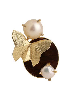 White-Brown Gold Tone Rosewood Pearl and Brass Adjustable Ring