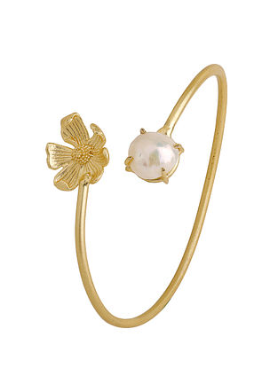 Classic Gold Tone Adjustable Pearl Cuff