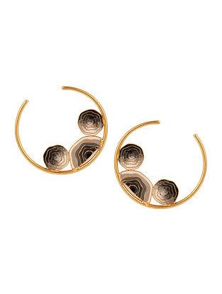 Black Grey Enameled Gold Tone Hoop Earrings
