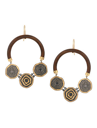 Dual Tone Handcrafted Wood Hoop Earrings