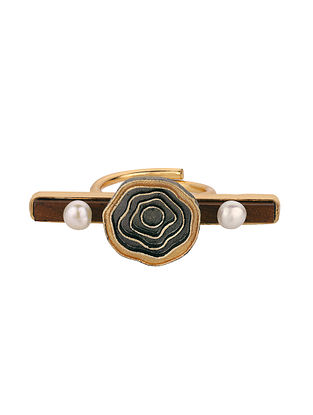 Dual Tone Handcrafted Wood Adjustable Ring with Pearls