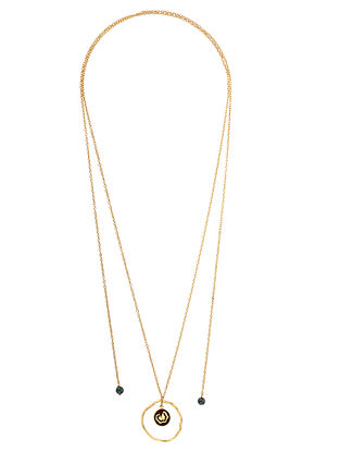 Gold Tone Handcrafted Wood Necklace with Apatite