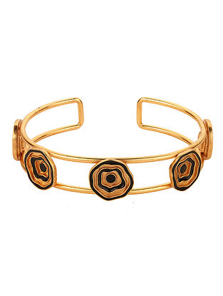 Black Enameled Gold Tone Handcrafted Cuff