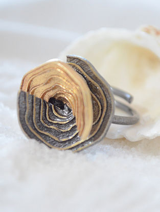 Dual Tone Handcrafted Adjustable Ring