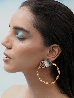 Black Enameled Dual Tone Handcrafted Hoop Earrings