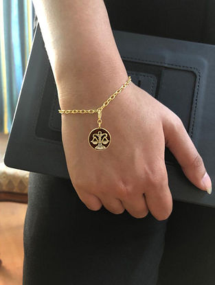 Libra Gold Tone Bracelet with Wood