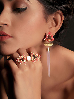 Pink-White Enamel Handcrafted 3D Cut Wood Earring