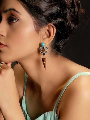 Blue-Brown Enamel Handcrafted 3D Cut Wood Earring