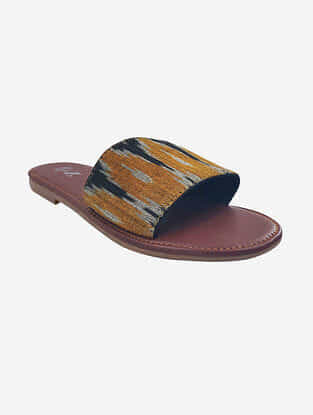Mustard Black Handcrafted Ikat Leather Flats