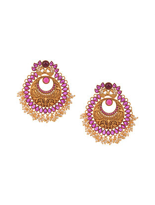 Pink Gold Tone Temple Work Chandbali Earrings with Pearls