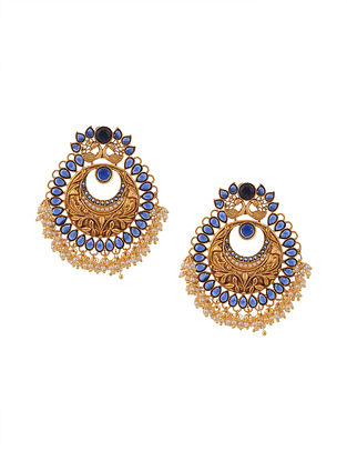 Blue Gold Tone Temple Work Chandbali Earrings with Pearls