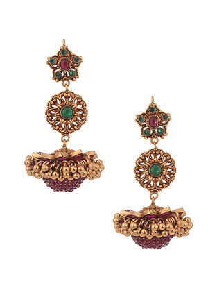 Green Pink Gold Tone Temple Work Earrings