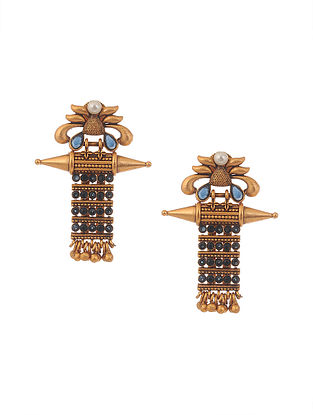 Blue Gold Tone Temple Work Earrings with Pearls