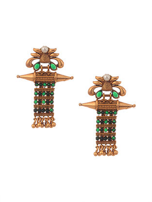 Green Gold Tone Temple Work Earrings with Pearls